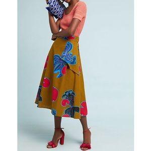 Anthropologie / NWT Olive Green Beta Fish Skirt